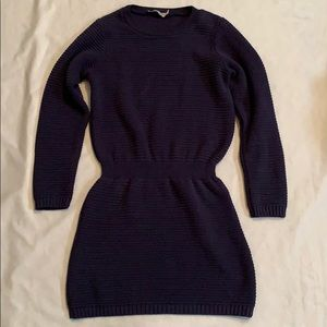 Navy ASOS Textured Cable Knit Sweater Dress